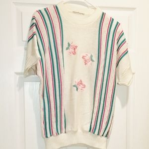 VINTAGE embroidered rose sweater